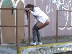 Teen pissing compilation as girls pee outside