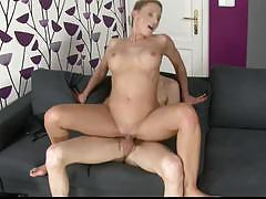 brunette, blowjob, doggystyle, sofa, mature