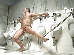 toilet, gay bdsm, gagged, gay handjob, ball sucking, gay blowjob, tied on wall, rope bondage, men on edge, kink men, rod pederson