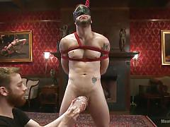 hanging, blindfold, gay bdsm, tied up, gay, gay domination, rope bondage, leather mask, gay hand job, men on edge, kink men, wolf hudson