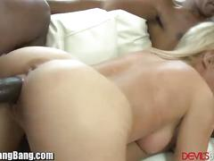 Creampied gangbang for curvy blonde ho