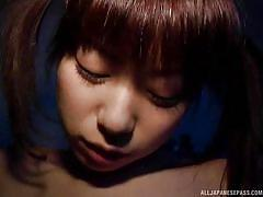 Asian slutty babe gets fingered after sucking dick