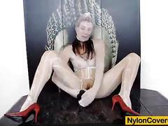 Nylon mask and sky-high heels