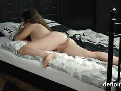 Elegant nymph spreads tight vagina and gets deflorated