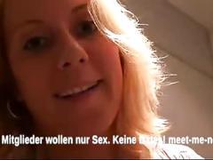 German blonde milf gives head in a public bathroom