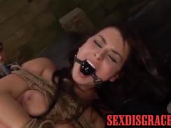 Roped up kali gets cum after fucked hard by huge dick