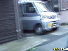 Asian chicks piss in public while a voyeur films it all