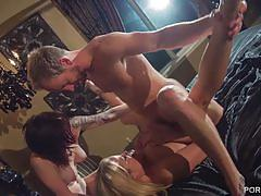 Nikki gets her horny pussy drilled in hot 3some.