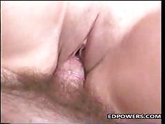 Luscious brunette gets her pussy slammed
