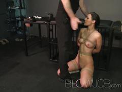 Blowjob bdsm hardcore throat sucking and fucking leads to facial cumshot