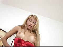 Making her hairy pussy wet with her fingers