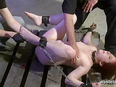 Naked slave chained and teased