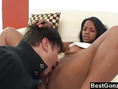 Ebony step sister seduces her step brother