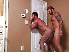 Gay men with sexy beards fucking hard