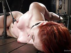 Naked redhead gets awfully used