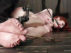 bdsm, babe, redhead, blindfolded, pov, bondage device, ball gag, electro bdsm, metal bondage, device bondage, kink, the pope, violet monroe