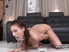 Lera baleri having a couple of piss glasses