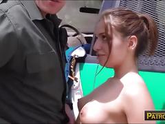 Brunette sneaky stripper fucked by border patrol agent