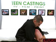 Blonde slut at the casting session bares it all