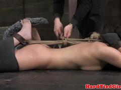 Kitten sub over arm hogtied and toyed
