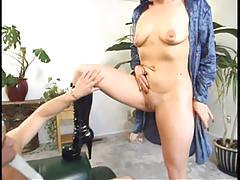 blowjob, tube8.com, brunette, natural tits, high heels, milf, cum on tits, short hair, full figure