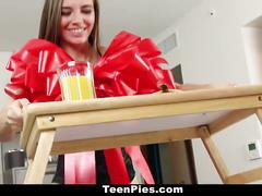 Teenpies - brunette gf gets creampied for breakfast