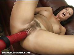 Brunette milf loves huge toys