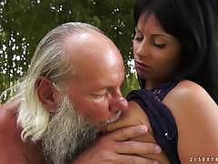 ex girlfriend, brunette, blowjob, cumshot, reverse cowgirl, licking, outdoors, natural, on top, natural tits, beauty, old man, cock suck, eating pussy, old, outside, grandad, licking pussy, dick suck
