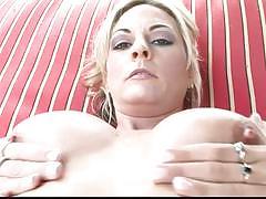 Blonde mom fingers her pussy in a bikini