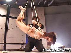 Asian sluit tied up and teased