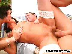 Rampant housewives fucked in threesome