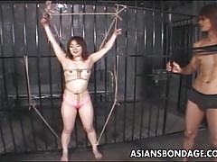 Tiny asian babe gets bondage tease