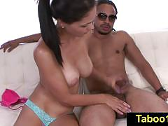 Jasmine caro gives her step brother a sloppy hand job