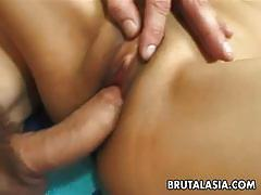 Hot busty asian gets bashed as she rides