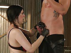 milf, handjob, femdom, cock torture, busty brunette, workshop, educational, grease, kink university, kink, nerine mechanique, mike panic