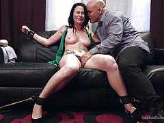 Handcuffed slut gets mouth fucked