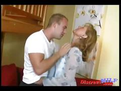 Hot milf gets fucked by her son at home