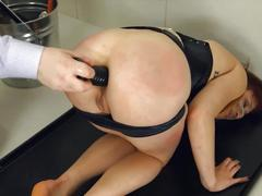 Roped bdsm slave bending over for toys and rock hard cock
