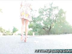 Natasha teen outside she does more upskirt on a street