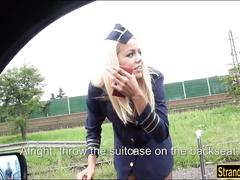Horny stewardess christen courtney hitchhikes and fucked