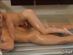 Petite masseur pleases clients cock with her hot body