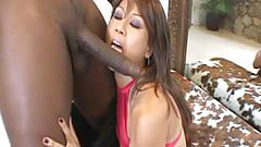 Sweet asian babe enjoys a big black cock