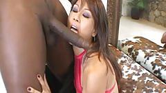 Sweet asian babe enjoys a big black cock