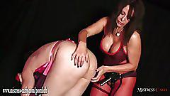 Hot dominant mistress ass fucks dirty sissy slut with electro strapon