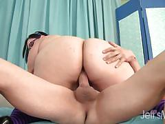 Horny bbw rides this hard cock