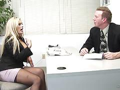 shyla stylez, riding, big tits, doggystyle, cumshot, blonde, milf, desk, office, reverse cowgirl, stockings, work, cowgirl, secretary, basque