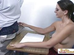 Teen slut shortens detention with a quality handjob