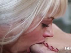 Blonde with a bitch face sucking some hard cock