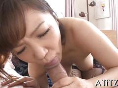 Busty brunette asian slut sucking some fresh cock