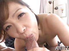 Busty brunette asian slut sucking some fresh cock